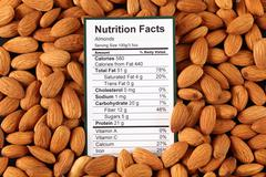 Nutrition facts of almonds Stock Photos