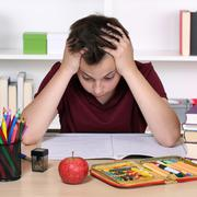 Student has stress and is desperate at school Stock Photos