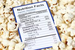 Nutrition facts of popcorn Stock Photos