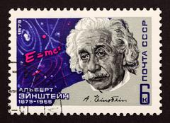 "ussr postage stamp ""albert einstein"" - stock photo"