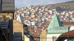 Roofs of houses and old buildings in Sarajevo with a cat. Stock Footage