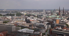 Hamburg Skyline Aerial View Urban Scene Old Town German Cityscape Architecture Stock Footage