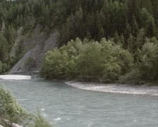 Vehicle shot from Glacier Express, passing the Ruinaulta or Rhine canyon Stock Footage