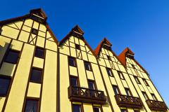 fishing village - stylization german architecture 19th century. kaliningrad ( - stock photo