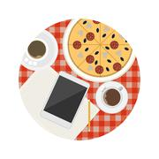 Flat icon for business coffee break table - stock illustration