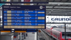 Stock Video Footage of train cancelled today, scoreboard  in munich station