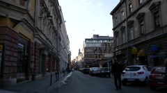 Street scene in Sarajevo with view on the famous hotel Europe. Stock Footage