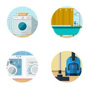 Flat icons vector collection for housekeeping - stock illustration