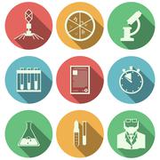 Flat vector icons for microbiology Stock Illustration