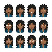 female indian avatar expression set wearing headset - stock illustration