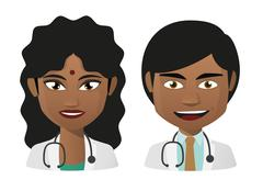 young indian doctors - stock illustration