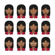 female indian avatar expression set - stock illustration