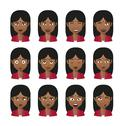 Stock Illustration of female indian avatar expression set