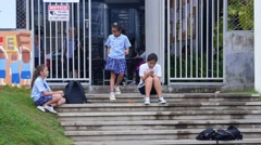 Education Classes are Finished and School Pupils Go Home. Stock Footage