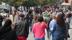 Crowded street, people walking in city, business, holiday, click for HD Stock Footage