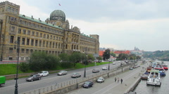 Quay riverside in Prague outlook to King's Castle, bridges ships, click for HD - stock footage