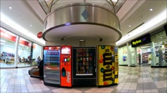 Vending snack machines, shopping mall Stock Footage