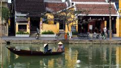 Rowboat on Thu Bon River in Hoi An, Vietnam Stock Footage