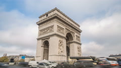 4K UHD timelapse of Arc De Triomphe in Paris, France Stock Footage