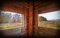 Interior of hunting tower in autumn season. Stock Photos