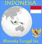 Indonesia location emblem motto - stock illustration