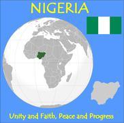 Nigeria location emblem motto - stock illustration