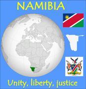 Namibia location emblem motto - stock illustration