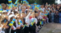 Ukrainian children, people with Ukrainian flags 002 Footage
