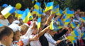 Ukrainian children, people with Ukrainian flags 003 Footage
