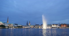 Spectacular Alster Fountain Hamburg Skyline Cityscape Landmark Sight Night Light Stock Footage