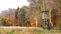 Panoramic view of a hunting pulpit in autumn. Stock Photos