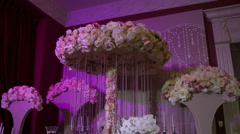View of romantically decorated banquet hall Stock Footage