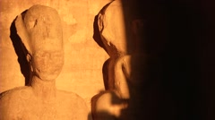 Time lapse of Sun Shining on Ancient Egyptian Statues Stock Footage