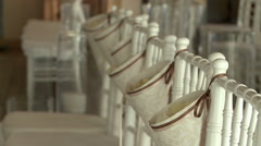 View of decorated chairs in banquet hall Stock Footage