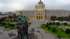 Vienna square, architecture National Museum Maria Theresa statue, click for HD Stock Footage