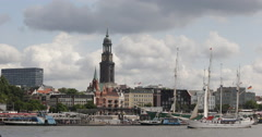 Full Rigged Ship Sailing Vessel Three Masts Passing Hamburg Skyline Landmark Day - stock footage