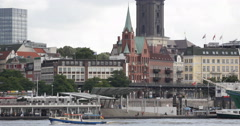 Hamburg Skyline Port Harbor Elbe River Promenade Church Gustavus Adolphus Sweden Stock Footage
