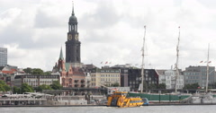 Establishing Shot Famous Hamburg Skyline German City Ferry Boat Passing Port Day Stock Footage