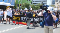 Aboriginal G20 protest in Brisbane 7 (4K) Stock Footage
