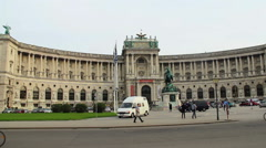 Vienna OSCE headquarters, carriage passing by tourists city flag, click for HD Stock Footage
