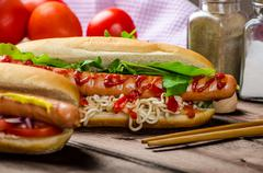 Variation on the red hot dogs Stock Photos