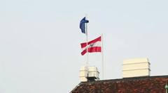 Flag of Austria and European Union waving on president building, click for HD Stock Footage