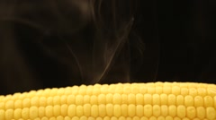 Hot corn and steam emanating from it Stock Footage