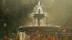 Beautiful fountain in city park, Baroque architecture Vienna sun, click for HD Stock Footage