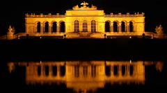 Vienna's famous Schonbrunn palace at night timelapse reflection, click for HD Stock Footage