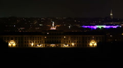Vienna night city timelapse Schonbrunn palace in front, traffic, click for HD Stock Footage