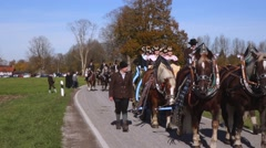 Leonhardi parade in benediktbeuern, upper bavaria, germany Stock Footage