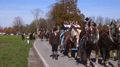 leonhardi parade in benediktbeuern, upper bavaria, germany - stock footage