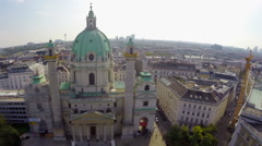 Aerial shot of Vienna Karlskirche, Baroque building, tourism air, click for HD Stock Footage