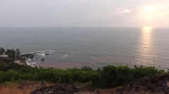 Sunset at Anjuna beach from the hill Stock Footage